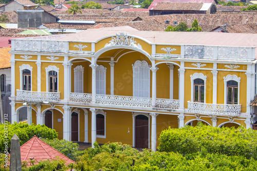 Beautiful, Yellow, Spanish Colonial Building in the Central Park Area of Downtown Granada, Nicaragua