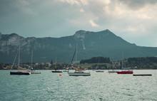 Sailing Boats On Sea Near Coun...