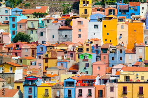Photo  colorful houses in bosa italy