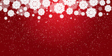 Red New Year's Christmas Background With White Snowflakes And Snow Border. Stars And Snowfall.