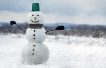Big Smiling Snowman With Bucke...