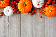 Autumn Top Border Of Orange An...