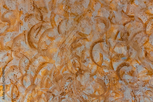 The abstract beautiful horizontal texture in yellow and brown tones circles and splashes