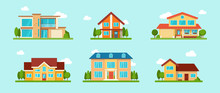 Modern Cottage House Set. Real Estate Concept. Flat Style