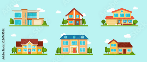 Foto Modern cottage house set. Real Estate concept. Flat Style