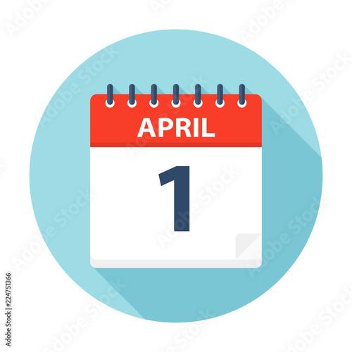 Fotografie, Obraz  April 1 - Calendar Icon