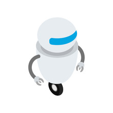 Round Robot On The Wheel. Isom...