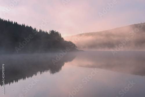 Poster Lichtroze Fog over the river and forest,Chusovaya river, Perm, Russia