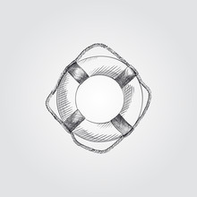 Hand Drawn Lifebuoy Sketch Symbol Isolated On White Background. Vector Beach Elements Art Highly Detailed In Sketch Style. Summer Items Vector Illustration.