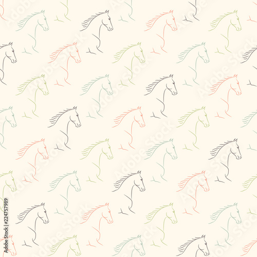 Seamless pattern with horses, pale pastel colors, beige background. Realistic vector illustration.