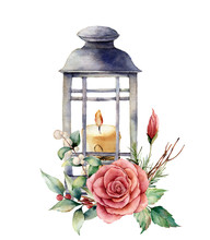 Watercolor Lantern With Candle...