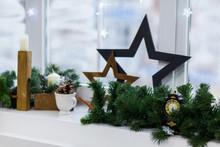 Christmas Decoration Winter Window. Vintage