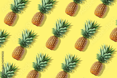 Colorful fruit pattern of fresh whole pineapples