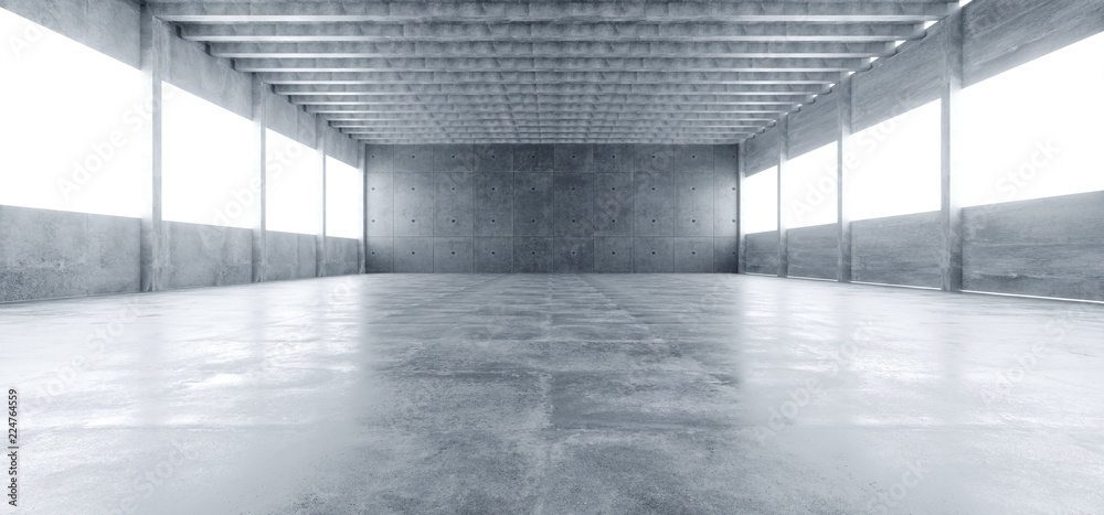 Fototapeta Modern Huge Concrete Material Empty Hall With Many Columns And Big White Glowing Windows Wallpaper Space For Text 3D Rendering