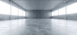 Leinwanddruck Bild - Modern Huge Concrete Material Empty Hall With Many Columns And Big White Glowing Windows Wallpaper Space For Text 3D Rendering