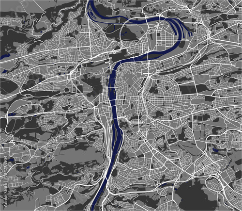 Fotografía map of the city of Prague, Czech Republic