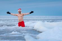 Winter Bather In A Santa's Hat...
