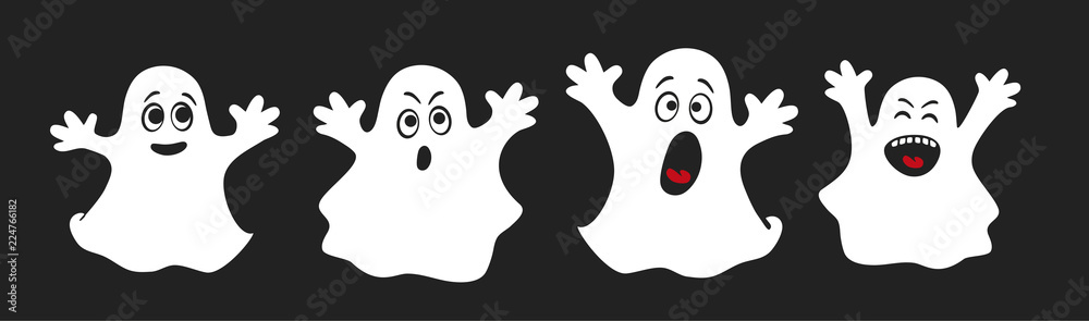 Fototapeta Set of cute ghosts, apparition, spook, horror. Poster for happy Halloween. Isolated cartoon illustration for print or sticker. Scary fairy. Card for friends or family. Ghost shadow funny. Vector.