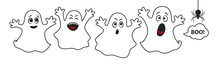 Set Of Cute Ghosts For Hallowe...