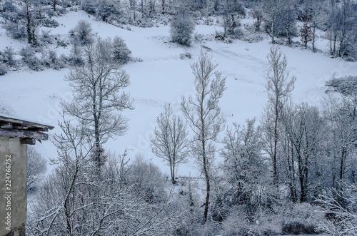 Fotobehang Gletsjers Beautiful snowy landscape of the Palencia mountain. Spain