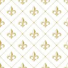 Seamless Golden Pattern With Fleur De Lis. Vector Illustration.