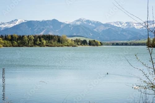 Poster Bergen Liptovska Mara lake in Slovakkia with low Tatra mountains Chopok view in the background