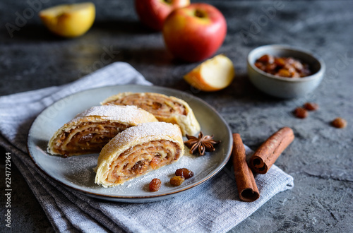 Fotografie, Obraz  Traditional apple roulade with raisins and cinnamon