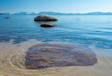Red Rock Submerged In Lake Tahoe