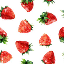 Seamless Pattern Of Strawberries, Watercolor Background Illustration Of Berries.