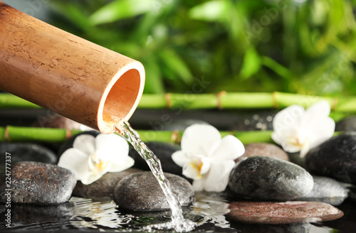 Traditional bamboo fountain with spa stones and flowers, closeup. Space for text