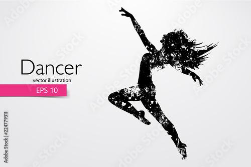 Silhouette of a dancing girl. Dancer woman. Vector illustration Wallpaper Mural