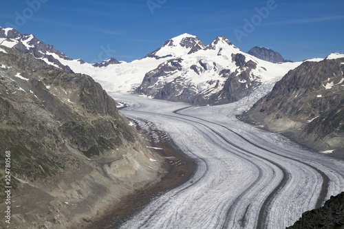 Deurstickers Alpen Aletsch Glacier, longest glacier in the Alps