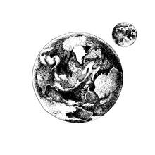 Hand Drawn Earth And Moon