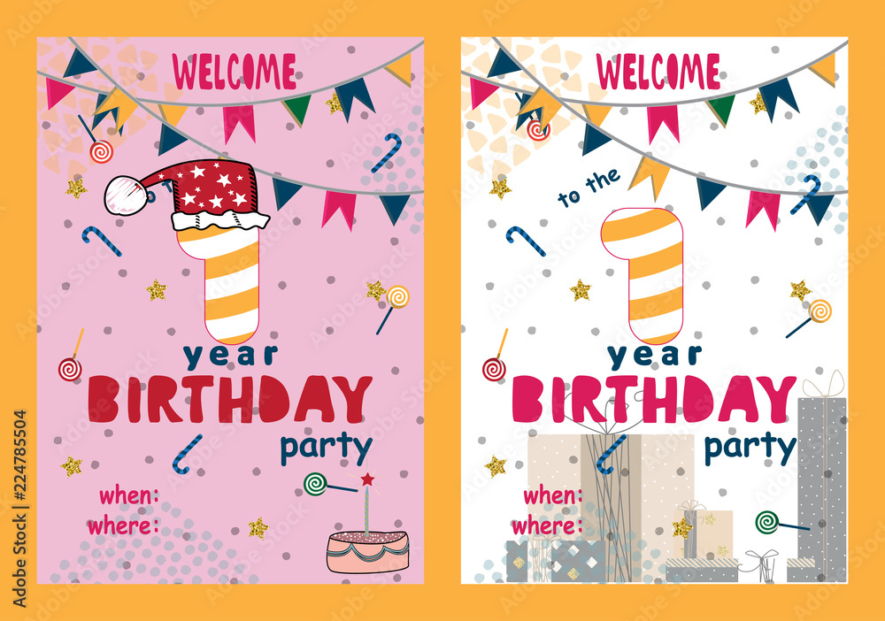 Set Of Happy Birthday Cards Design For One Year Old Baby Foto Poster Wandbilder Bei EuroPosters