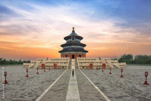 In de dag Peking Wonderful and amazing Beijing temple - Temple of Heaven in Beijing, China. Hall of Prayer for Good Harvest..
