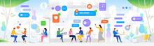 Vector Social Media Networking Concept. News, Social Networks, Chat, Dialogue Speech Bubbles.