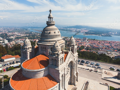 Canvas Print Aerial view of Viana do Castelo, Portugal, with Basilica Santa Luzia Church, sho