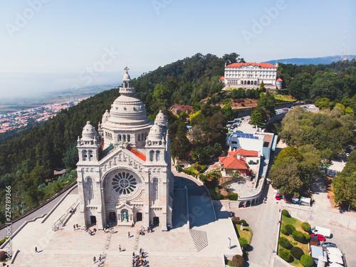 Photo Aerial view of Viana do Castelo, Portugal, with Basilica Santa Luzia Church, sho