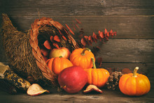 Thanksgiving Cornucopia Filled...