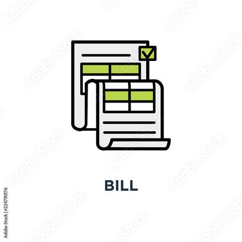 Fotografia, Obraz  bill icon, invoice, billing, modern light design,, commercial payment document,