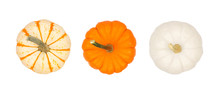 Assortment Of Autumn Pumpkins Isolated On A White Background. Top View. Striped, Orange And White.