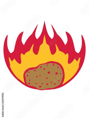 Brennende Kartoffel Flammen Feuer Heiss Essen Lecker Koch Kuche