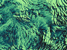 3d Render, Abstract Wavy Scales Background, Emerald Green, Pattern, Macro Carpet Texture
