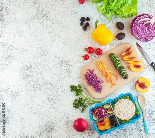 In de dag Assortiment Lunch box with ingredients on light background