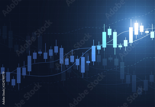 Foto Business candle stick graph chart of stock market investment trading on dark background design