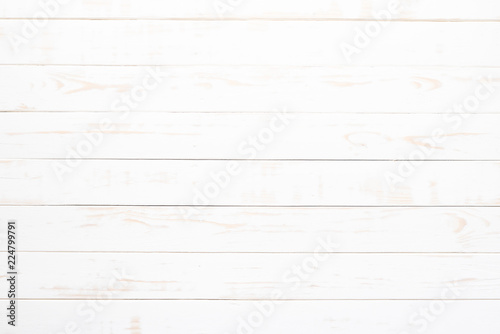 Fotografía  Top view of white wood texture background, wooden table.