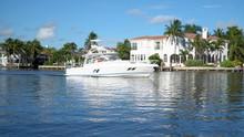 Large Motor Boat Sailing Throu...