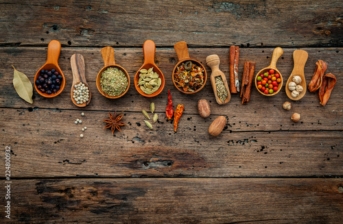 Foto op Plexiglas Kruiden Various herbs and spices in wooden spoons on wooden background.