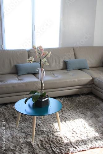 canapé gris en cuir rt table basse,salon moderne - Buy this ...