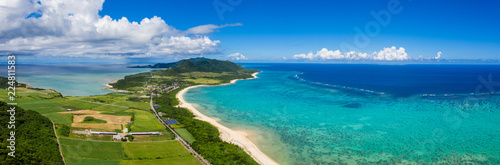 Top view of Tropical lagoon of Ishigaki island